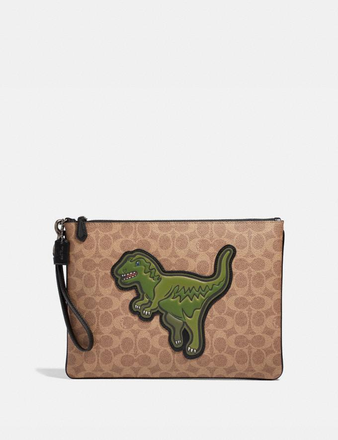 Coach Pouch 30 in Signature Canvas With Rexy Khaki