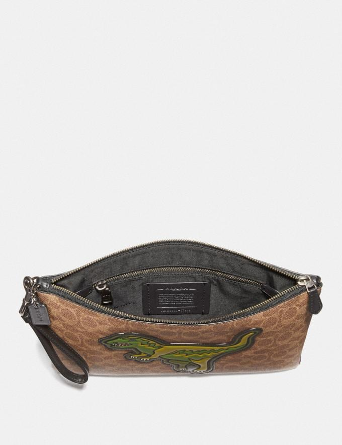 Coach Pouch 30 in Signature Canvas With Rexy Charcoal Men Accessories Lifestyle Alternate View 1