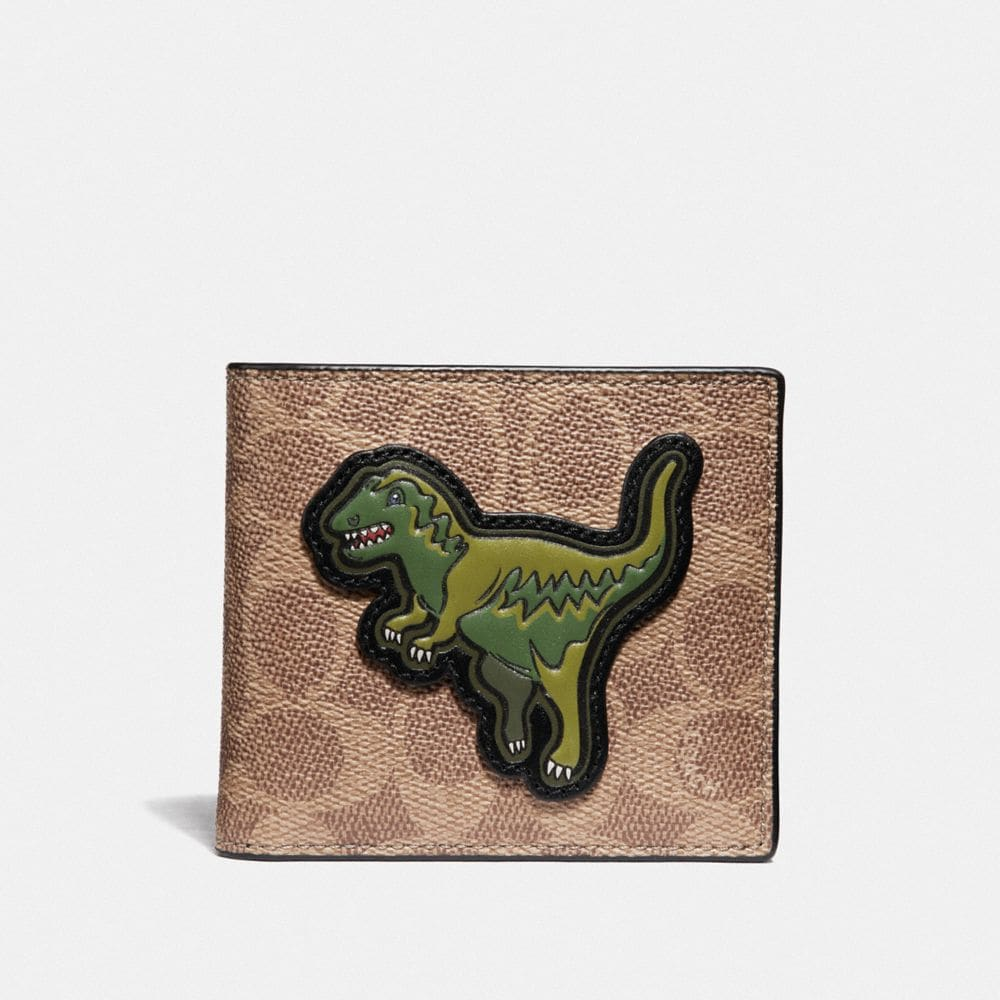 Coach Double Billfold Wallet in Signature Canvas With Rexy