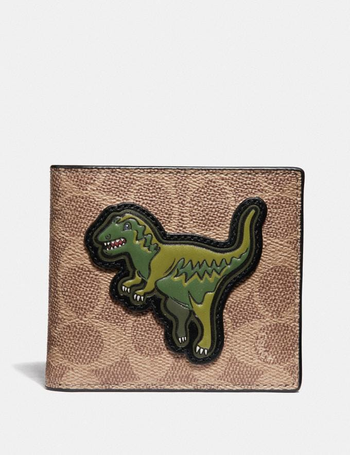 Coach Double Billfold Wallet in Signature Canvas With Rexy Khaki New Featured Signature Styles