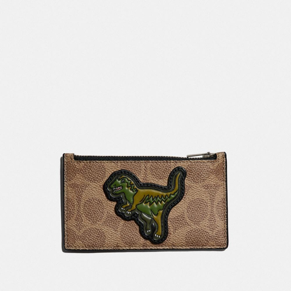 Coach ZIP CARD CASE IN SIGNATURE CANVAS WITH REXY
