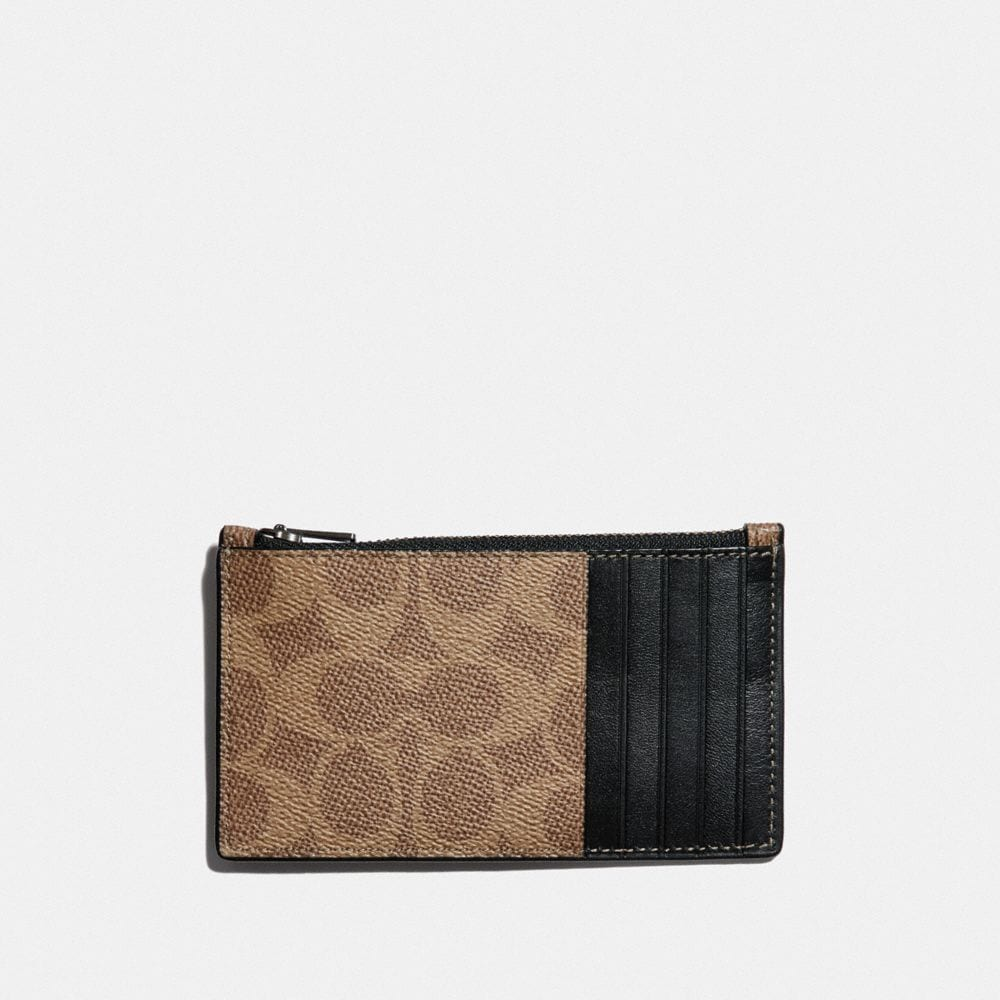 Coach ZIP CARD CASE IN SIGNATURE CANVAS WITH REXY Alternate View 1