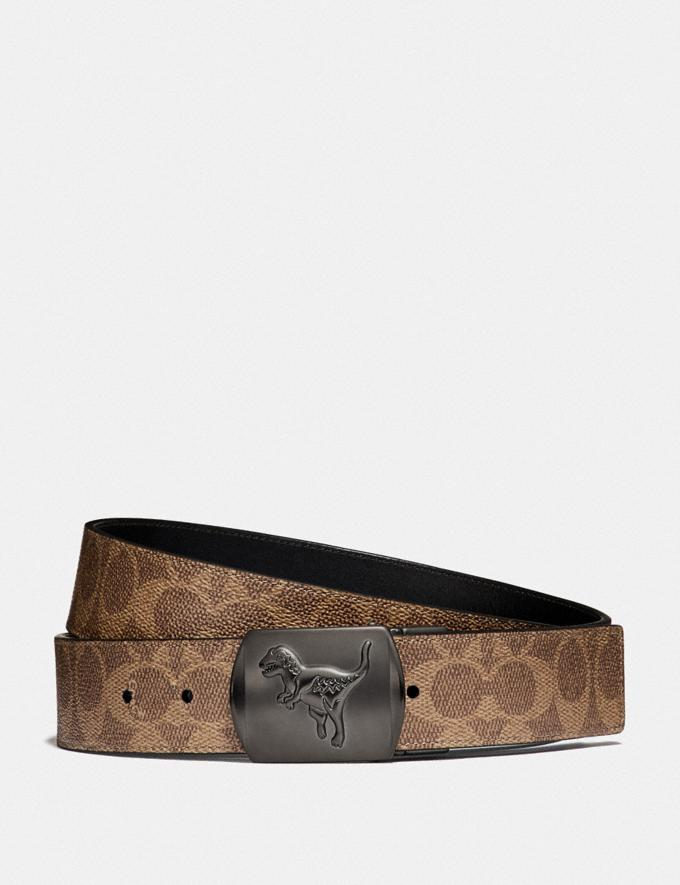 Coach Rexy Plaque Buckle Cut-To-Size Reversible Belt, 38mm Khaki/Black Men Accessories Belts