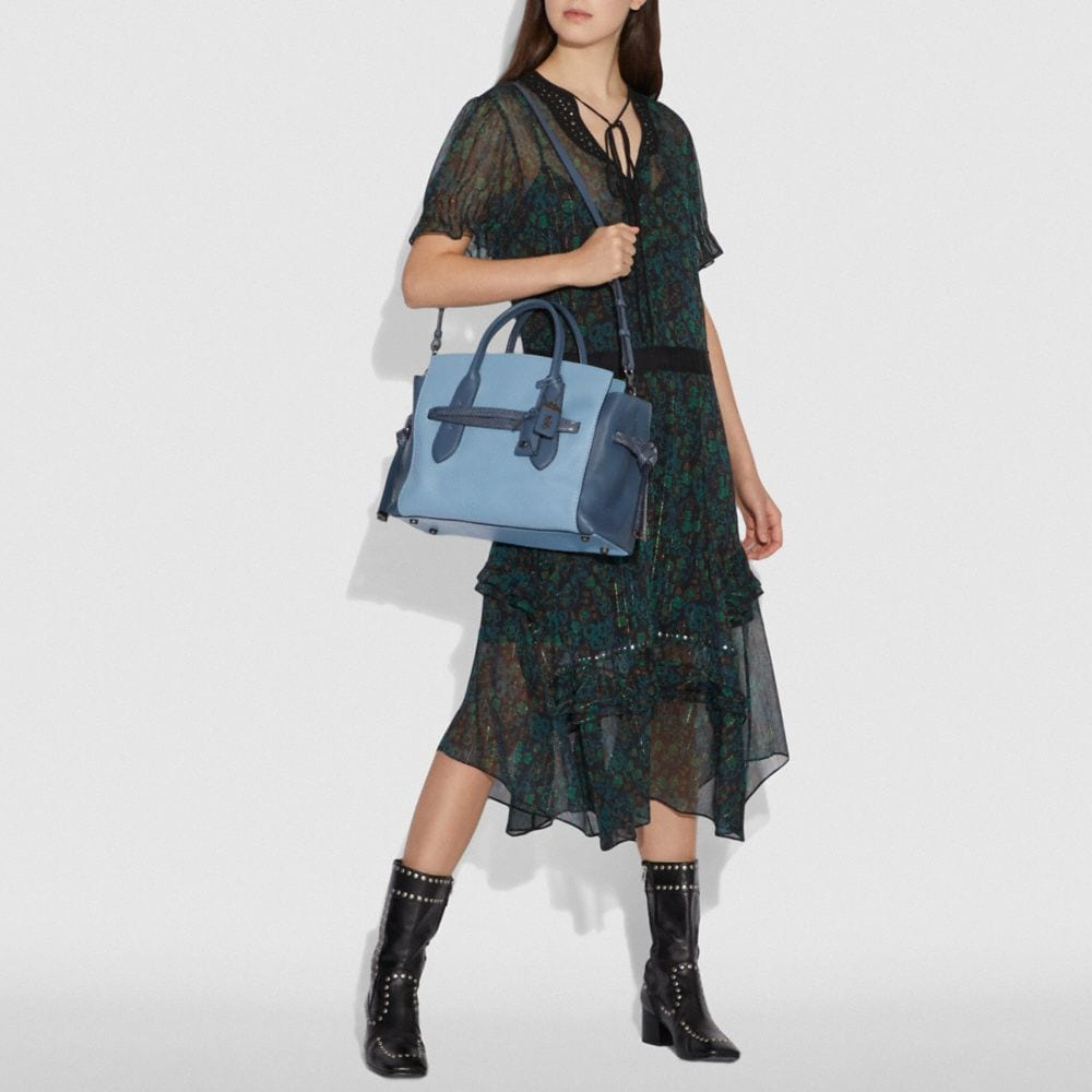 Coach Shadow Carryall in Colorblock With Snakeskin Detail Alternate View 3