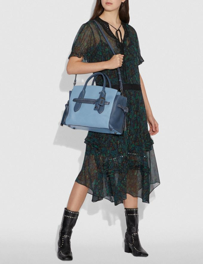 Coach Shadow Carryall in Colorblock With Snakeskin Detail Slate/Pewter New Women's New Arrivals Alternate View 3