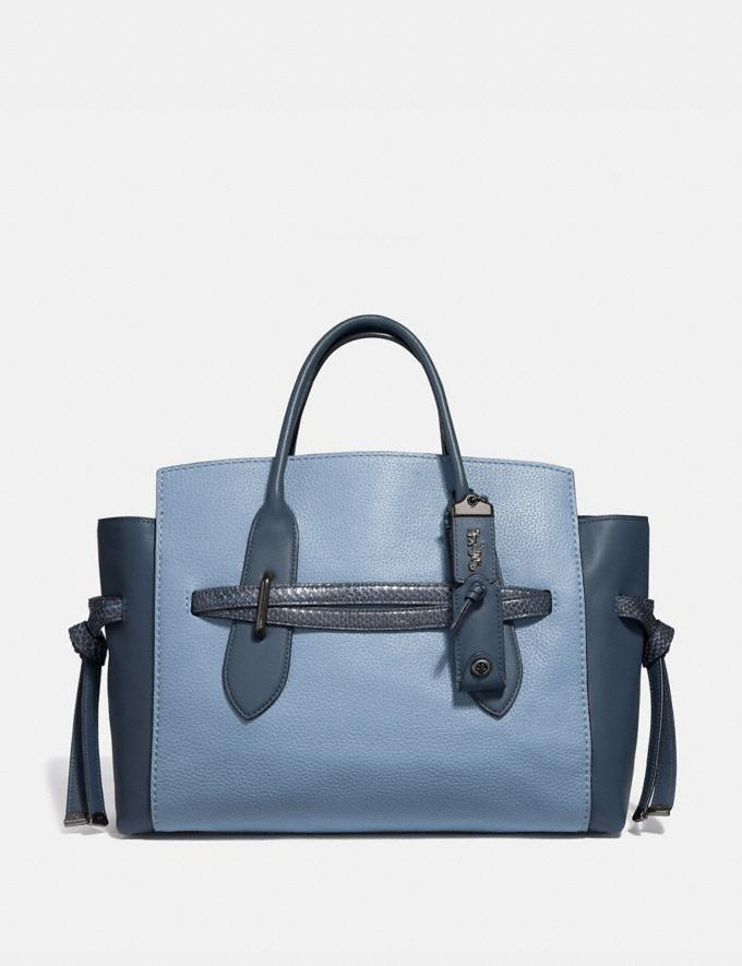 Coach Shadow Carryall in Colorblock With Snakeskin Detail Slate/Pewter New Women's New Arrivals