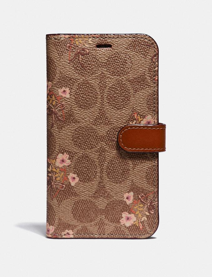 Coach iPhone X/Xs Folio in Signature Canvas With Floral Bow Print Tan/Pink Women Accessories Tech & Work