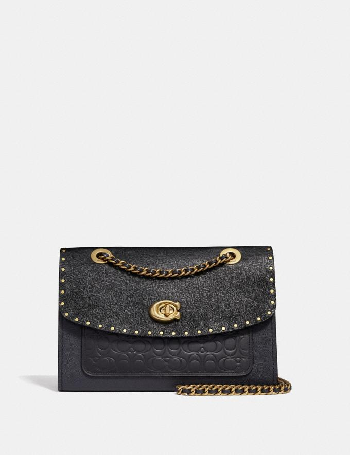 Coach Parker in Signature Leather With Rivets Black/Brass New Women's New Arrivals View All