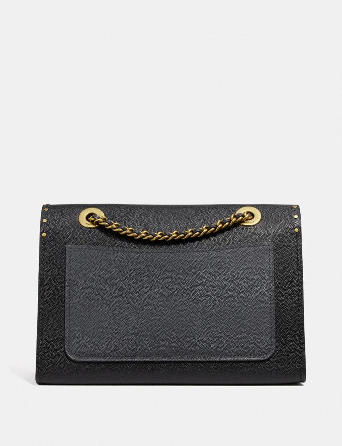 Coach Parker in Signature Leather With Rivets Black/Brass Women Bags Alternate View 2