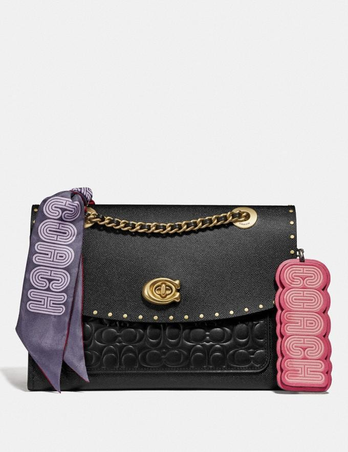 Coach Parker in Signature Leather With Rivets Black/Brass Women Bags Alternate View 4