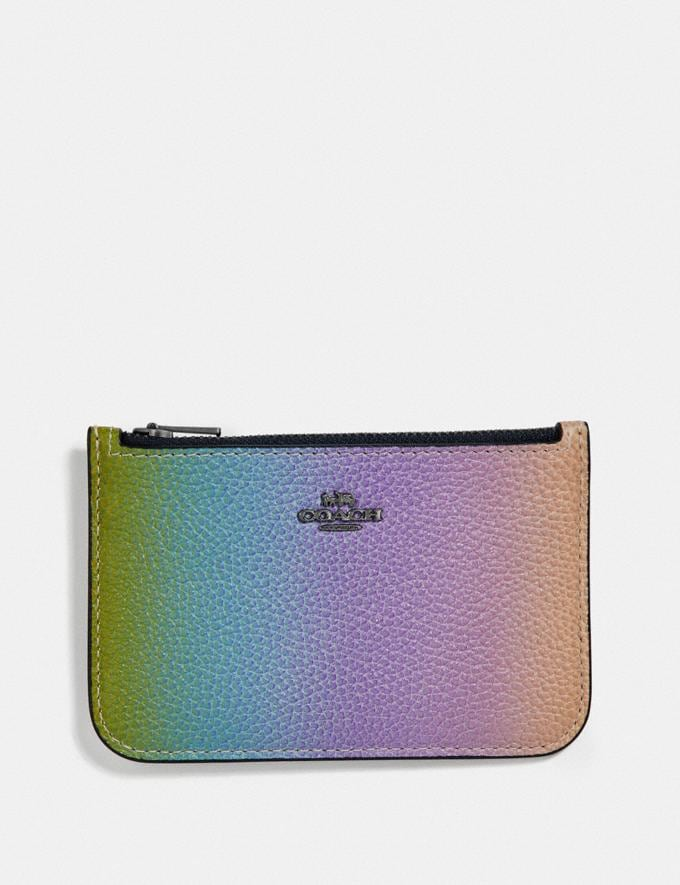 Coach Zip Card Case With Ombre Multicolor/Gunmetal New Women's Trends Rainbow Styles