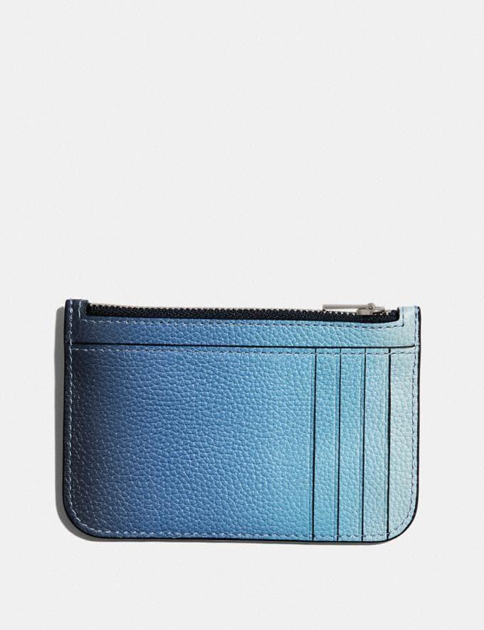 Coach Zip Card Case With Ombre Blue Multi/Silver Women Wallets & Wristlets Small Wallets Alternate View 1