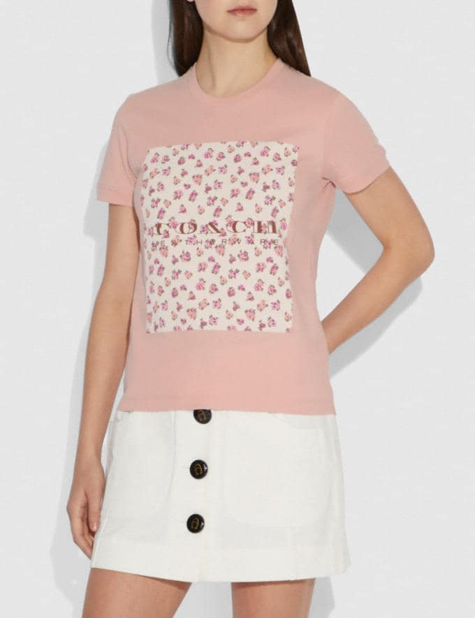 Coach Mother'S Day Floral Print T-Shirt Blush  Alternate View 1