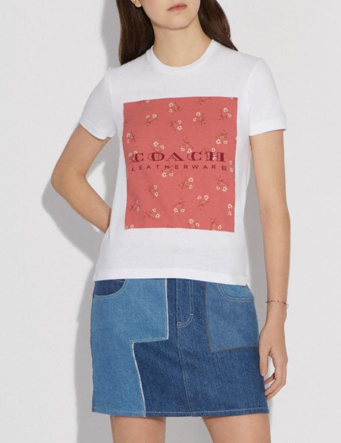 Coach Mother'S Day Floral Print T-Shirt White  Alternate View 1