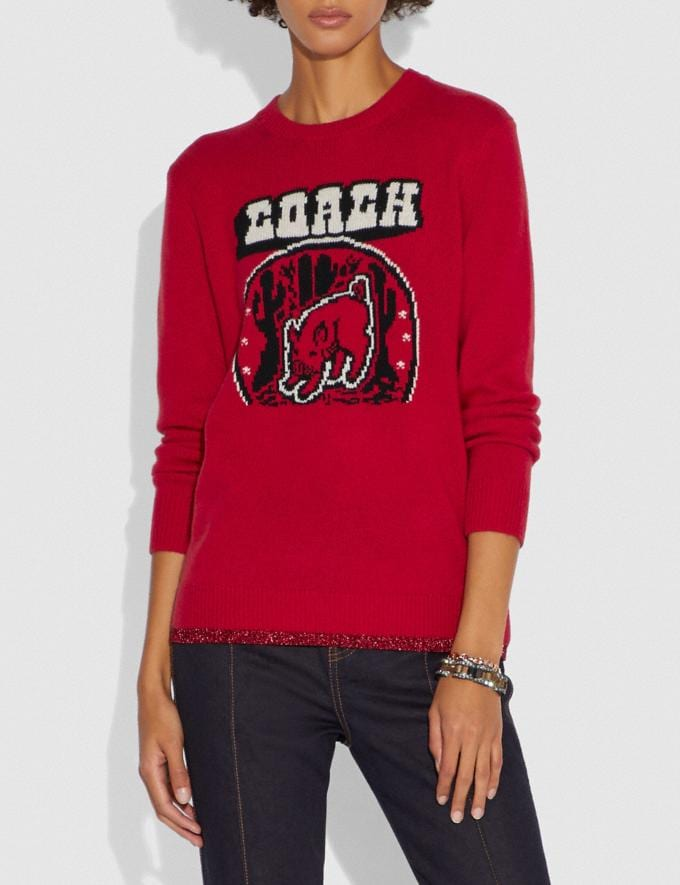 Coach Lunar New Year Sweater Red Women Ready-to-Wear Tops Alternate View 1