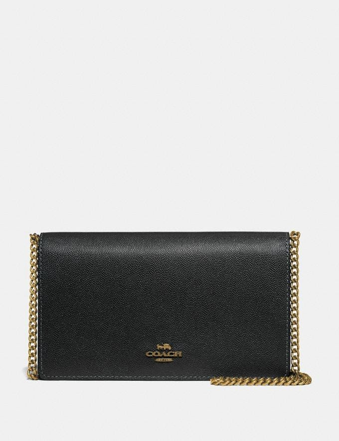Coach Callie Foldover Chain Clutch Black/Brass