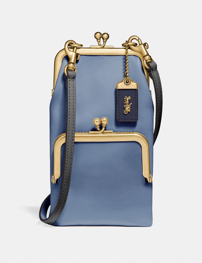 Coach Double Frame Crossbody 12 Chalk/Brass Women Bags Crossbody Bags