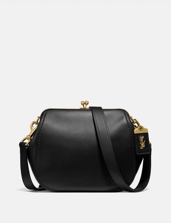 Coach Frame Saddle Bag Black/Brass Women Bags Crossbody Bags