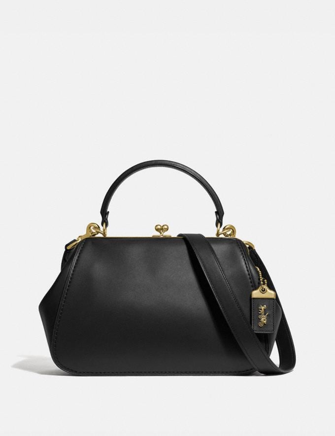 Coach Frame Bag Black/Brass Personalise For Her