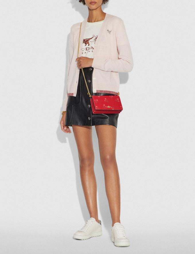 Coach Lunar New Year Callie Foldover Chain Clutch With Floral Bow Print Jasper/Gold Women Bags Clutches Alternate View 3