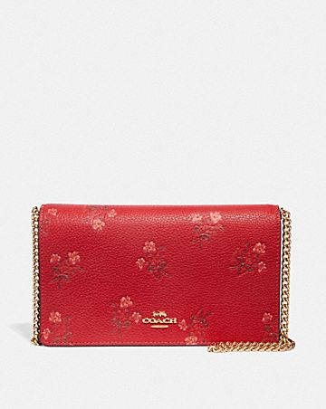 LUNAR NEW YEAR CALLIE FOLDOVER CHAIN CLUTCH WITH FLORAL BOW PRINT ... 5f451de39d04d