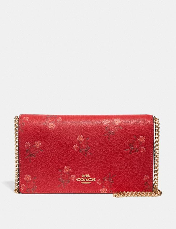 Coach Lunar New Year Callie Foldover Chain Clutch With Floral Bow Print Jasper/Gold Women Small Leather Goods Wristlets