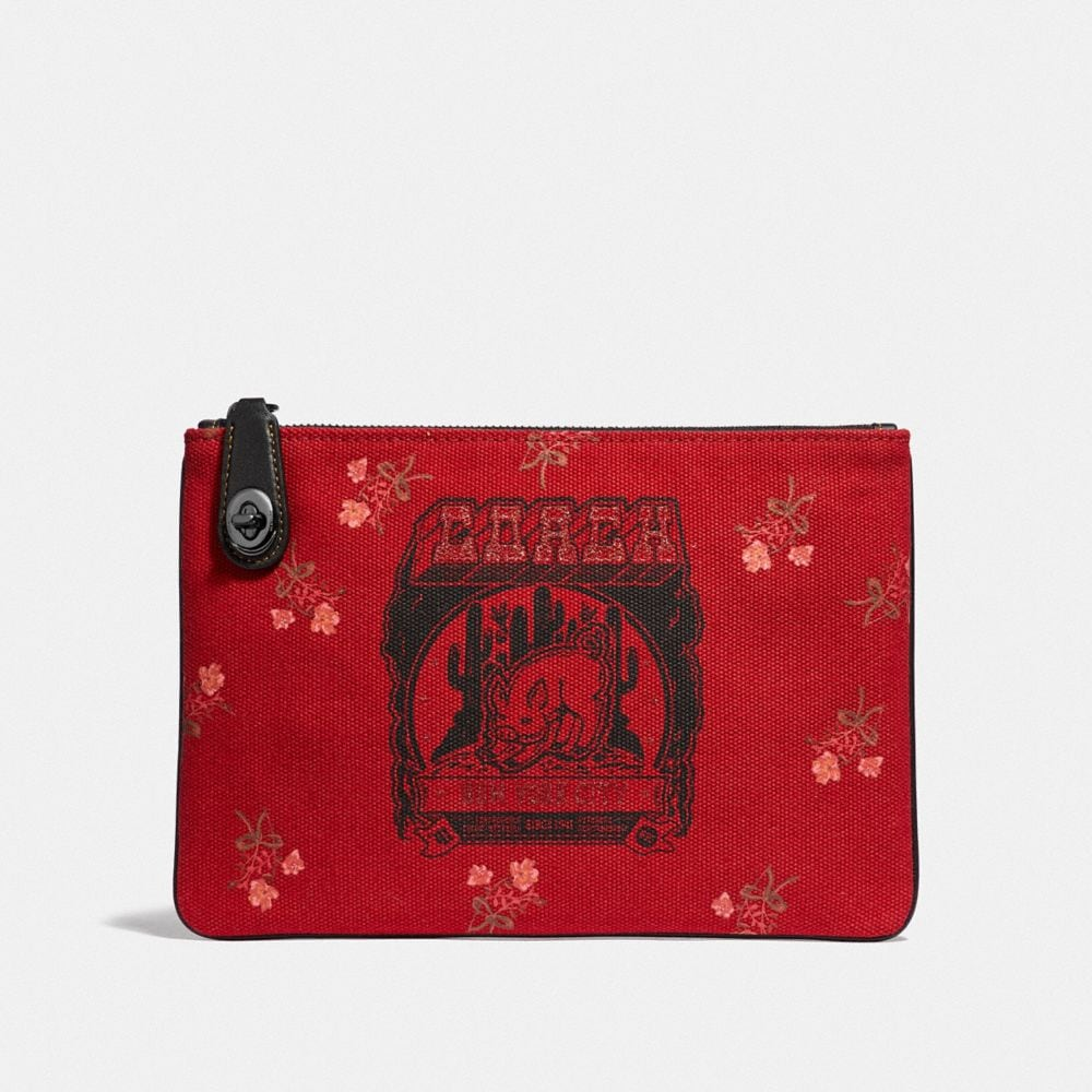Coach Lunar New Year Turnlock Pouch 26 With Pig Motif