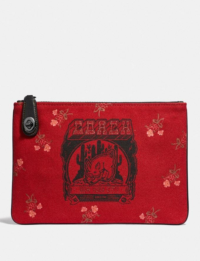 Coach Lunar New Year Turnlock Pouch 26 With Pig Motif Jasper/Gunmetal Gifts For Her Under £100