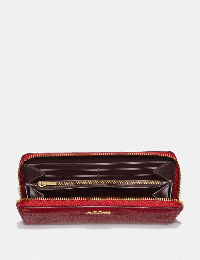 Coach Lunar New Year Accordion Zip Wallet With Floral Bow Print Jasper/Gold New Women's New Arrivals Small Leather Goods Alternate View 1