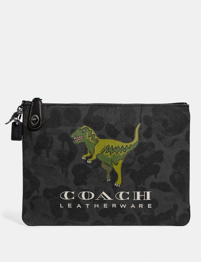 Coach Turnlock Pouch With Rexy Graphite New Featured Rexy Collection