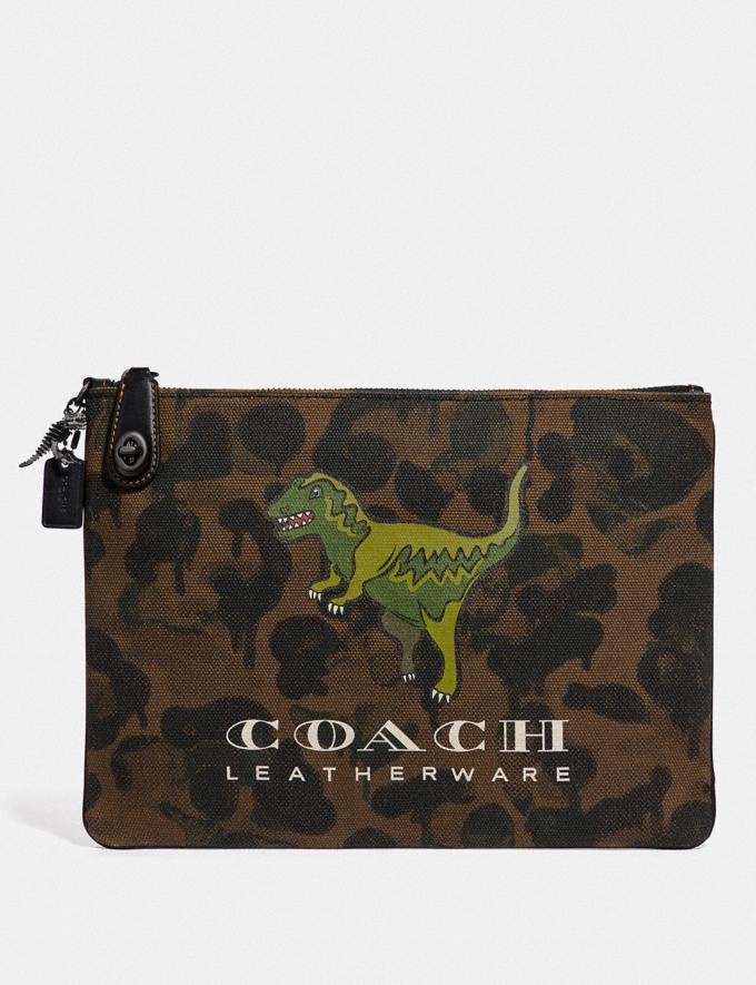 Coach Turnlock Pouch With Rexy Khaki New Featured Rexy Collection