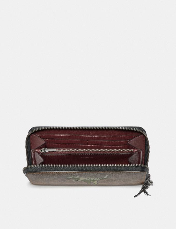 Coach Accordion Wallet in Signature Canvas With Rexy Khaki  Alternate View 1