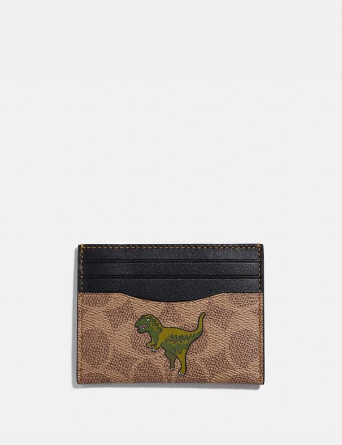 Coach Card Case in Signature Canvas With Rexy Khaki New Featured Rexy Collection