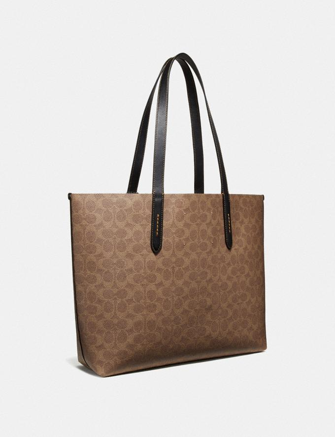 Coach Highline Tote in Signature Canvas With Rexy Khaki/Black Copper New Featured Rexy Collection Alternate View 1