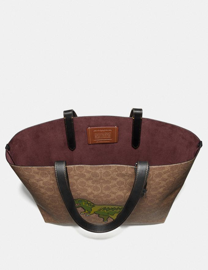 Coach Highline Tote in Signature Canvas With Rexy Khaki/Black Copper Men Bags Totes & Duffles Alternate View 2
