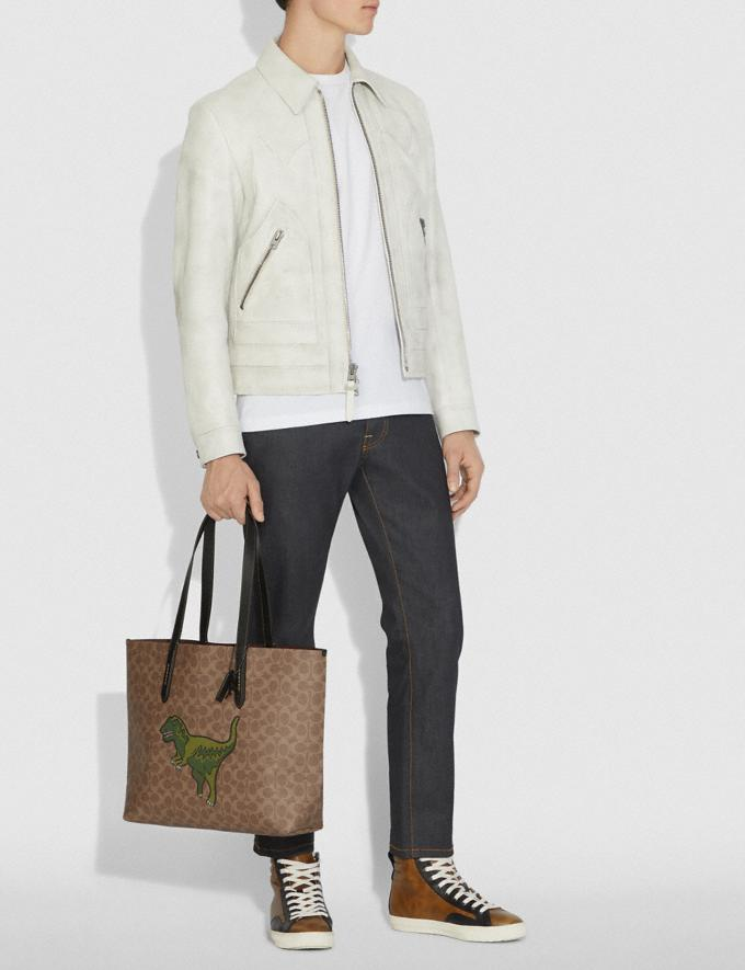 Coach Highline Tote in Signature Canvas With Rexy Khaki/Black Copper Men Bags Totes & Duffles Alternate View 3