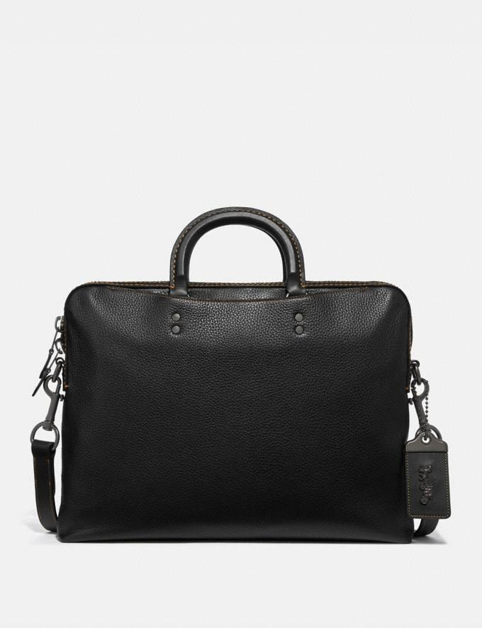 Coach Rogue Slim Brief Black/Light Antique Nickel Men Bags Briefcases