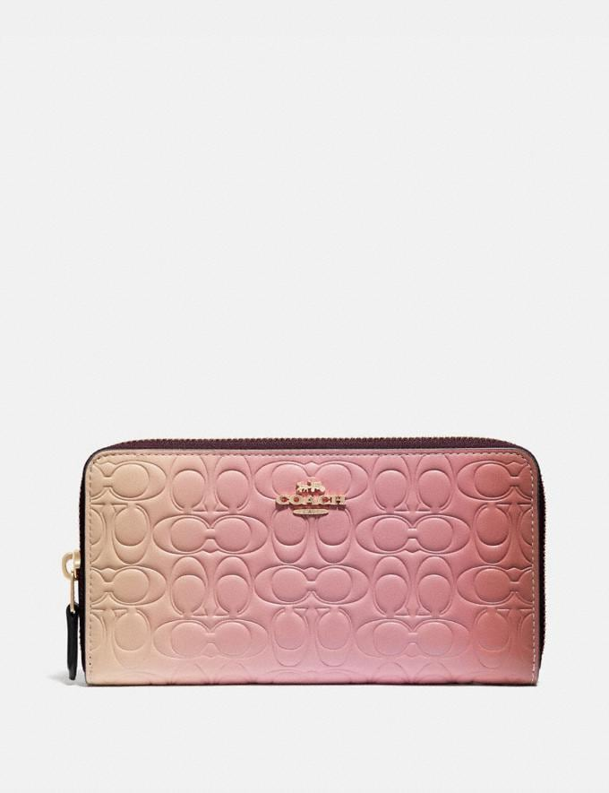Coach Accordion Zip Wallet in Ombre Signature Leather Pink Multi/Gold New Women's New Arrivals Small Leather Goods