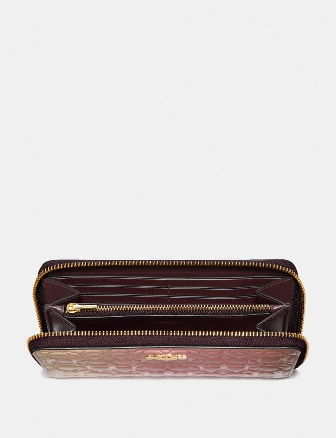 Coach Accordion Zip Wallet in Ombre Signature Leather Pink Multi/Gold New Women's New Arrivals Small Leather Goods Alternate View 1