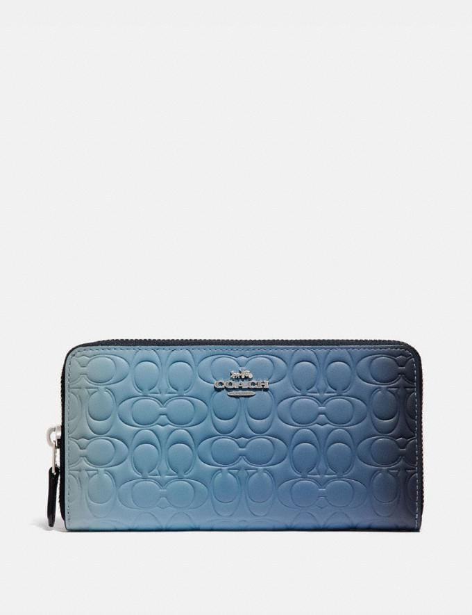 Coach Accordion Zip Wallet in Ombre Signature Leather Blue Multicolor/Silver Women Small Leather Goods Large Wallets
