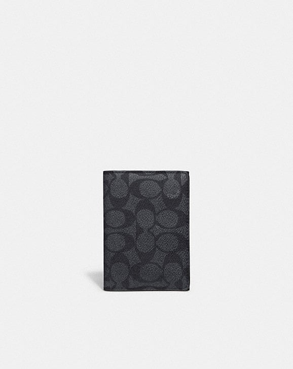 Coach BIFOLD CARD CASE IN SIGNATURE CANVAS