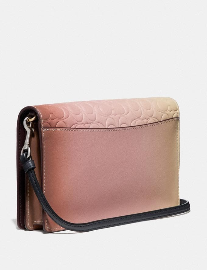 Coach Hayden Foldover Crossbody Clutch in Ombre Signature Leather Pink Multi/Gold Women Bags Crossbody Bags Alternate View 1