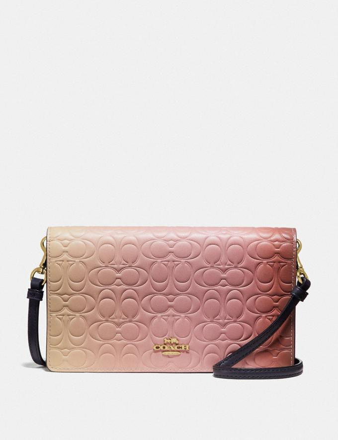 Coach Hayden Foldover Crossbody Clutch in Ombre Signature Leather Pink Multi/Gold Women Bags Crossbody Bags