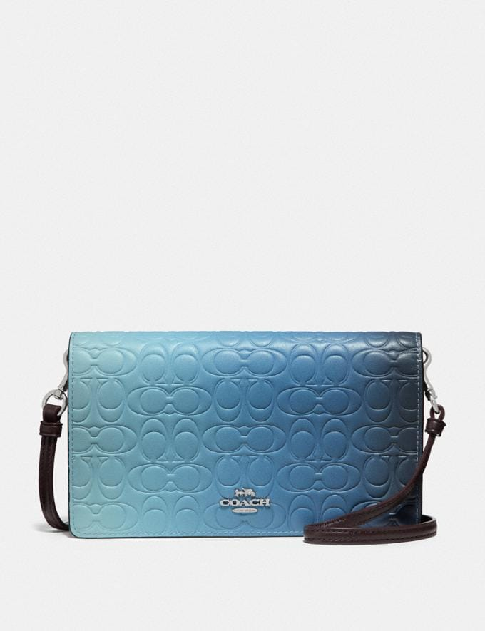 Coach Hayden Foldover Crossbody Clutch in Ombre Signature Leather Blue Multicolor/Silver Women Bags Crossbody Bags
