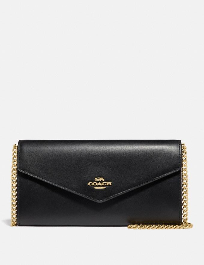 Coach Envelope Chain Wallet Black/Gold Cyber Monday Women's Cyber Monday Sale Wallets & Wristlets