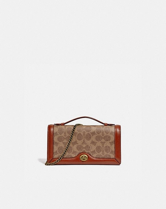 Coach RILEY CHAIN CLUTCH IN COLORBLOCK SIGNATURE CANVAS