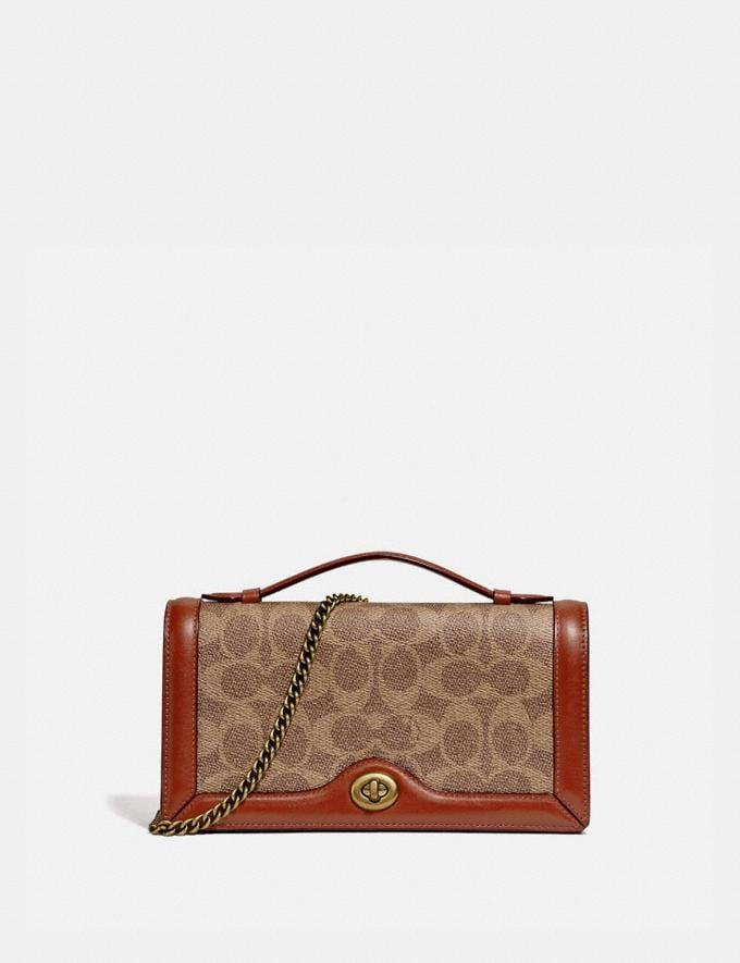 Coach Riley Chain Clutch in Colorblock Signature Canvas Tan/Rust/Brass Women Collection Signature