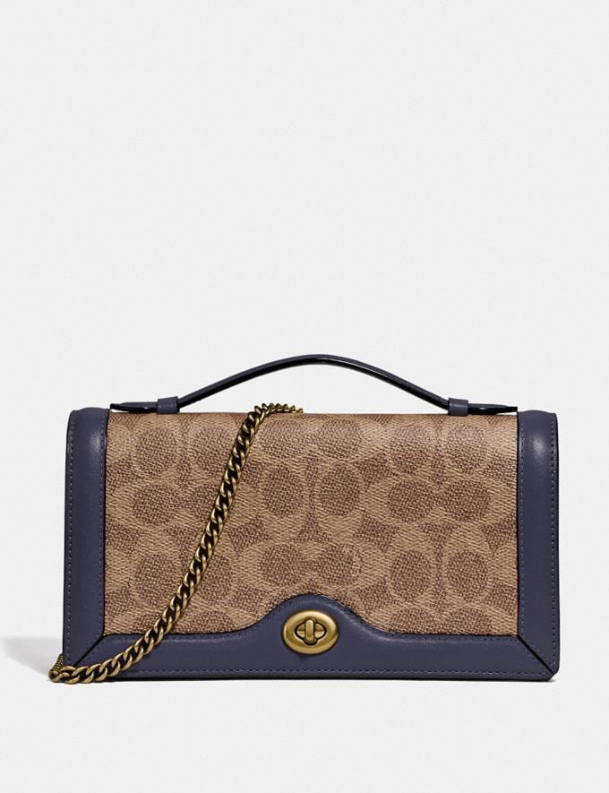 Coach Riley Chain Clutch in Colorblock Signature Canvas Tan/Ink/Brass Women Small Leather Goods Crossbody Wallets