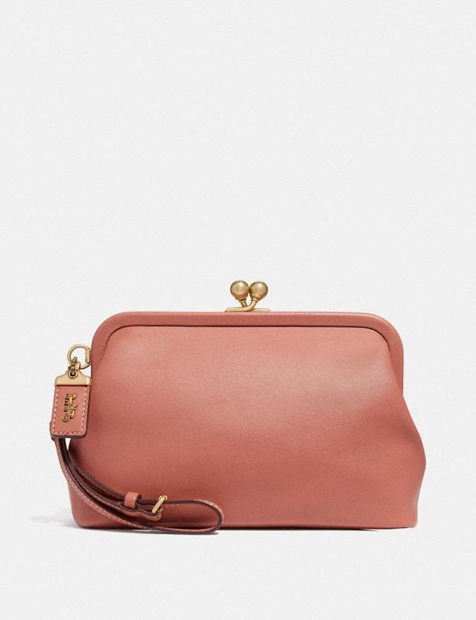 Coach Kisslock Clutch Light Peach/Brass 30% off Select Full-Price Styles