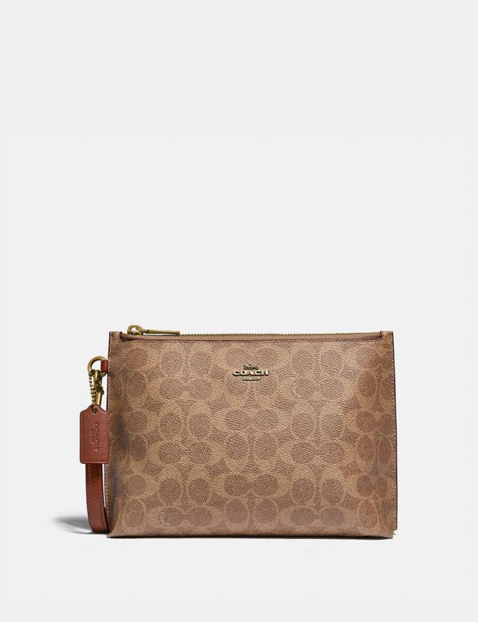 Coach Charlie Pouch in Colorblock Signature Canvas Brass/Tan Rust Women Small Leather Goods Wristlets